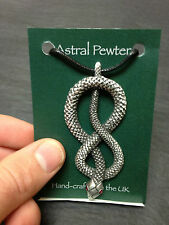 PENDANT ASTRAL PEWTER CURLED SNAKE RED EYED NECKLACE HAND CRAFTED UK FINISH NEW
