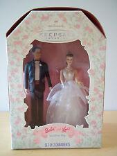 1997 Hallmark Barbie + Ken Wedding Day Cake Topper Ornament Set - Mint