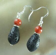Designer Lava Tropfen Edelstein Ohrringe Ohrhänger Earrings & rote Koralle