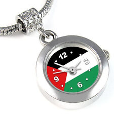 Palestine Flag Silver European Spacer Charm Bead Watch For Bracelet EBA353