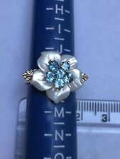 Mother Of Pearl and Blue Topaz Flower Ring 9ct gold ring size K