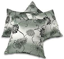 "Set of 4 Black & Silver Taffeta / Faux Silk 18"" / 45cm Cushion Covers BNIP"