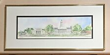 "Framed Patsy Gullett Sculptured Watercolor Print: ""Penn State""  11 3/4 x 24 3/4"