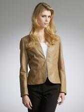 JOHN LEWIS Soft BEIGE  Leather EDGE to EDGE JACKET Coat Sz 14 NEW