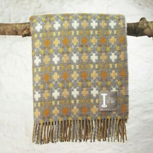 Loom & Bobbin UK Made Wool Blanket Welsh Tapestry / Fair Isle Design - Lichen