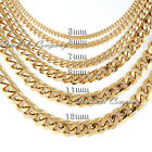 3 5 7 mm Mens Boy 316L Stainless Steel 18K Gold Plated Curb Cuban Chain Necklace