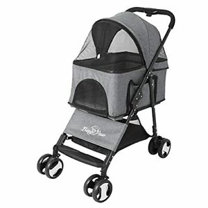 4 Wheel Foldable Pet Stroller, Breathable Mesh Window, Hard Bottom, 50x78x99.5cm