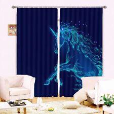 Blue Blood Horse Sky 3D Curtain Blockout Photo Printing Curtains Drape Fabric