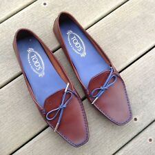 a0aca275640 TOD S Brown Gommino Driving Leather Loafers With Blue Ribbon Tie