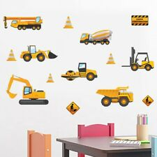 Construction Vehicles Truck Crane Wall Decal Vinyl Sticker Boys Nursery Decor