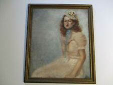 Antique Oil Painting Portrait Pretty Female Model Woman In Dress Signed Mystery