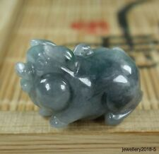 Small Certified  Black Gray 100% natural  A  jadeite jade Pendant~Pig 福猪