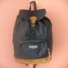 Vintage Black Jansport Leather Bottom Backpack Made in USA Drawstring Hiking WOW