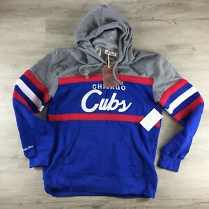 Mitchell & Ness Chicago Cubs MLB Coach Hoodie - Blue/Red/Grey - Size: XXL