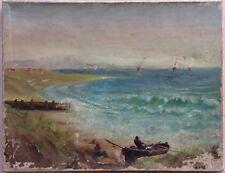 Bord de mer animé pêcheur XIXème Signature Non déchiffrée Huile sur Toile à rest