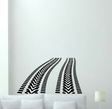 Tire Tracks Wall Decal Way Road Traces Vinyl Sticker Decor Garage Poster 90hor