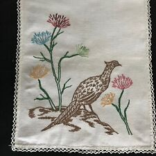 "Antique Vintage Primitive Farmhouse Hand Embroidered Tea Towel 34 1/2"" x13"