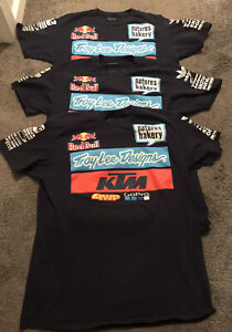 LOT OF 3 TROY LEE DESIGNS KTM RED BULL ADIDAS TEAM RACING T SHIRTS Sz L +