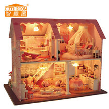 Dollhouse Miniature DIY Kit with Cover and LED Wood Toy Dolls House X'mas Gift