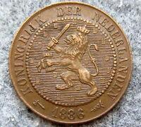 NETHERLANDS WILLEM III 1886 2-1/2 CENTS, HIGH GRADE