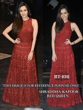 Bollywood Designer Party Wear Latest Red Color  Gown Dress
