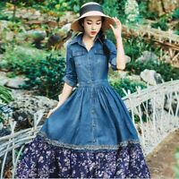 Womens Vintage Denim Floral Aline Long Sleeve Gown Casual Dress Belt Jeans Skirt