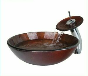 Bowl Sinks Vessel Washbasins With Chromes Pop-Up Drain And Waterfall Tap Faucets