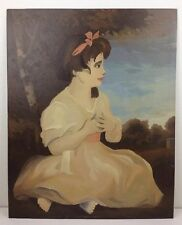 Vtg 16 x 20 Young Girl Age of Innocence Paint By Number Oil Painting Unframed