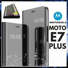 COVER FLIP PER MOTOROLA MOTO E7 PLUS CUSTODIA LIBRO NERA SPECCHIO CLEAR VIEW 360
