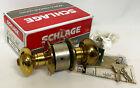 Vintage SCHLAGE A53PD GEORGIAN 605 Bright Brass Door Knob Keyed Lock Set 1980s