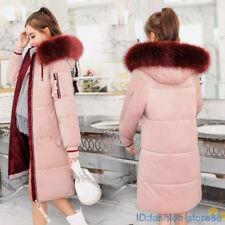 Women winter coat Down jacket Ladies fur hooded Velvet jackets Long puffer parka