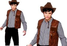 Adult COWBOY WAISTCOAT Budget Wild West Fancy Dress Rodeo Costume Male Mens
