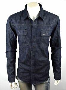 True Religion Men's Dark Rinse Button Up Denim Shirt Jacket - 103347