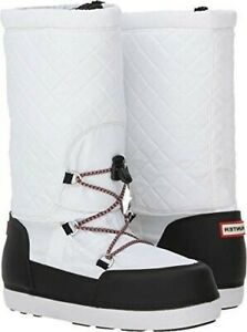 HUNTER Boots Sz 9 TALL Quilted Snow Boots Rain White Black