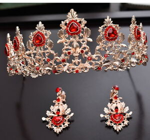 6cm High Heart Golden Red Crystal Wedding Party Pageant Prom Tiara Earrings Set