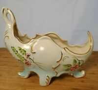 Vintage Coventry Pottery Planter Hand-Painted Floral French Blue Gold Victorian