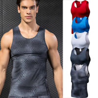 Men's Compression Tank Top Running Football Gym Vests Spandex Quick-dry Dri fit