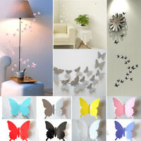 12pcs 3D Butterfly Wall Stickers Art Sticker Decals Home Room Decorations Decor