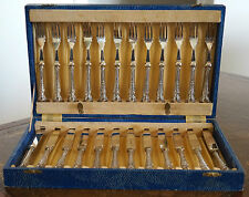 Art Deco Sterling Silver Dessert Knife & Fork Cutlery Set from 1936 - 24 Pcs