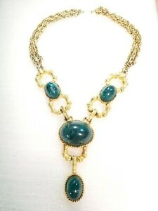 Vintage Les Bernard Bamboo Faux Malachite Stone Necklace Gold Tone