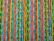 Bright Multi Stripe with Gold Outline, Timeless Treasures,100% Cot Fabric, 2 M