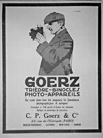 PUBLICITÉ DE PRESSE 1911 GOERZ TRIÈDRE BINOCLES PHOTO-APPAREILS - ADVERTISING