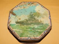 VINTAGE WWII  US NAVY  SHIP USS IDAHO LOOSE WILES OCTAGON BISCUIT TIN
