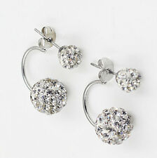 Charming Women Crystal Double Beads Ear Stud Jewelry Shiny Silver Plated Earring White