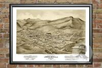 Old Map of Helena, MT from 1875 - Vintage Montana Art, Historic Decor