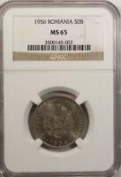 Romania 50 Bani  1956  NGC MS 65 UNC Copper Nickel High Grade