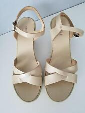 ANDRE ASSOUS Women's 10.5 / 41 Nude Leather Suede Platform Wedge Sandals