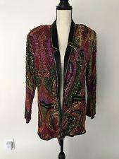 Vintage Judith Anne Creations Inc Beaded Silk Jacket Sz S