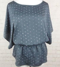 ..NWOT Central Park West Gray Studded Dolman Sleeve Blouse Top Size Small