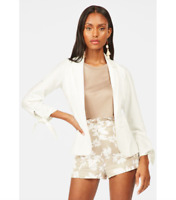 JustFab Women's Size Small Bow Sleeve Blazer Jacket White One Button NEW